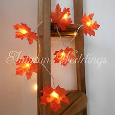 battery lighted fall garland orange autumn leaves fairy string lights led battery leaf garland