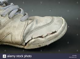 Comfort Running Shoes Side View Of Dirty Worn Old Sneakers Or Running Shoes Concept