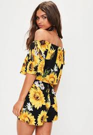 black sunflower playsuit missguided