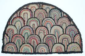 Half Circle Rugs Antique Hooked Hearth Rug Clamshell Design Great Folk Art Early
