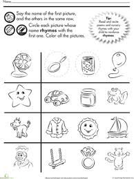 fun rhymes circle and color kindergarten worksheets and phonics