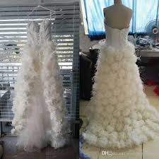 feather wedding dress discount high quality real picture high low wedding dress luxury