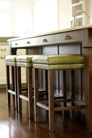 furniture modern wood kitchen island with green leather backless