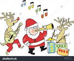 cartoon santa claus reindeer playing musical stock vector 51862156