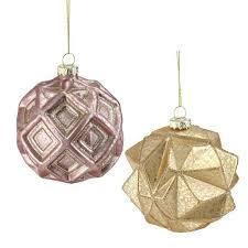 2 set of pink and gold geometric glitter mercury glass