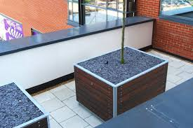 steel planter wooden square contemporary bradgate street