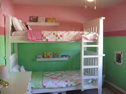 bedroom interesting half green and pink wall painting for