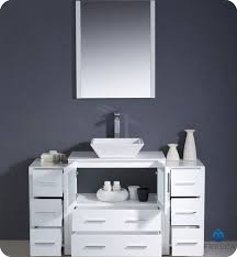 Bathroom Vanity With Side Cabinet 54 Torino White Modern Bathroom Vanity W 2 Side Cabinets