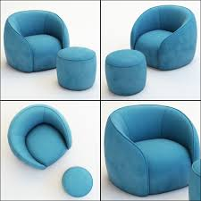 3d model armchair and pouf baloo cgtrader