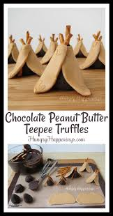 thanksgiving desserts peanut butter chocolate teepee truffles