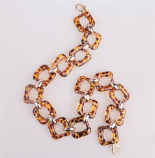metal ring necklace images Tortoiseshell color resin chains acrylic plastic chain with metal jpg