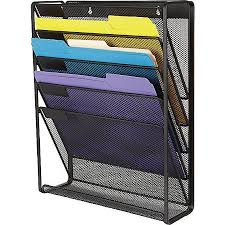 Staples Desk Organizers Staples Wire Mesh Wall File 5 Pocket Letter Size Black 16 H X