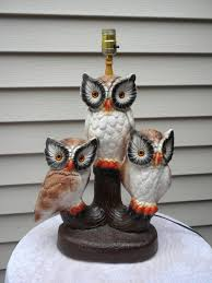 Etsy Vintage Home Decor by Vintage Owl Lamp Large Lamp 3 Owls Ceramic Owls Lamp 125 00