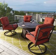 Round Patio Dining Sets - burnella round fire pit outdoor dining set from ashley coleman