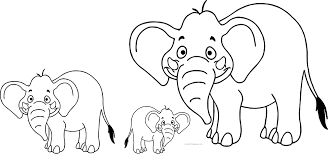 elephant family coloring page wecoloringpage