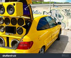 tuned cars tuned car extreme speakers sub woofers stock photo 50291020