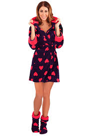 loungeable womens heart print robes or fleece nightdress hooded