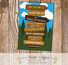 hiking camping campfire bonfire birthday invitation smores s