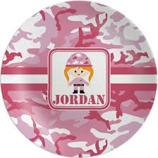 personalized photo plate pink camo melamine plate personalized potty concepts
