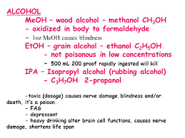 Drinking Rubbing Alcohol Blindness Organic Chemistry Organic Chemistry Is The Study Of Carbon