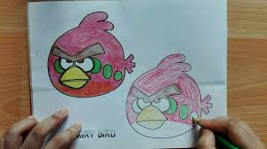 draw red angry birds pencil learn color angry