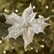 pier 1 imports white glitter poinsettia clip ornament polyvore