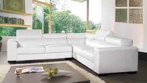 canapé mobilier de canapé angle en cuir vachette blanc