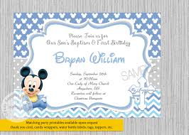 Birthday Invitation E Card Printed Or Digital Baby Mickey Mouse 1st Birthday Invitations