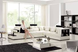 White Italian Leather Sofa by Fabulous Living Room Design Using White Tiles Floor With Striped