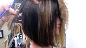 wedge one side longer hair angled bob graduated and texturized youtube