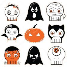 Halloween Cartoon Monsters by Halloween Icons Set 3 Including Scary Spooky Ghosts And Pumpkin