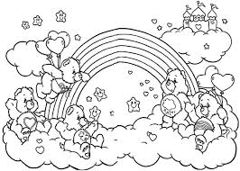 care bears playing friends rainbow coloring pages