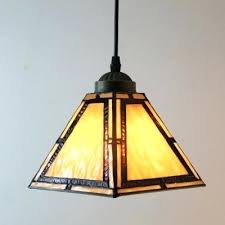 vintage leaded glass shade light fixture amber stained pendant