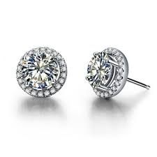 back diamond earrings 0 5ct halo moissanite diamond earrings stud push back