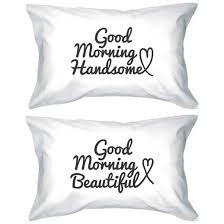 his and hers pillow cases pajamas matching couples morning beautiful morning