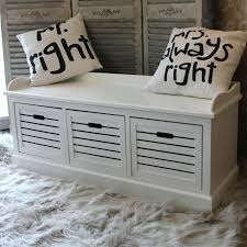 hallway storage bench seat storage bench three drawers white