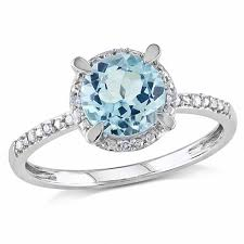 blue topaz engagement rings 7 0mm sky blue topaz and diamond accent frame engagement ring in