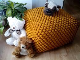 crochet stuffed mustard yellow ottoman nursery pouf knit
