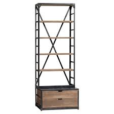 wood metal bookcase pbteen