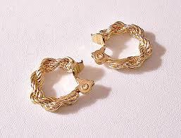 cd earrings monet rope hoops clip on earrings gold tone vintage braided