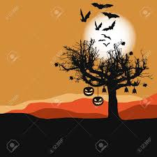 halloween background scary tree in full moon royalty free
