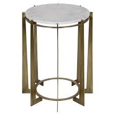 leonard regency antique brass metal drum white quartz side table