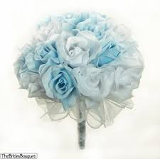 Wedding Flowers Blue And White Light Blue And White Silk Rose Hand Tied Bridal Bouquet 3 Dozen