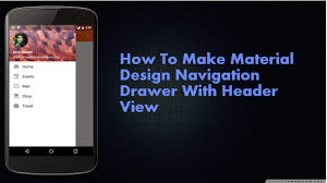 tutorial android menu bar how to make material design navigation drawer with header view