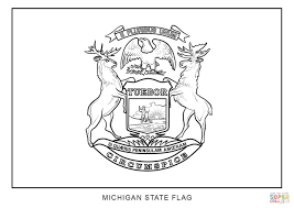 State Of Michigan Map by Flag Of Michigan Coloring Page Free Printable Coloring Pages