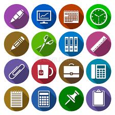 icone de bureau icône des fournitures de bureau dans la conception plate