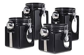 black kitchen canister sets amazon com oggi ez grip handle ceramic 4 canister set black