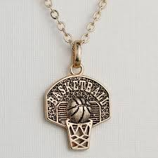 personalized basketball necklace basketball hoop charm necklace sport pendant necklace gold color