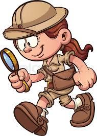 safari cartoon cartoon safari looking through a magnifying glass vector clip