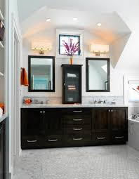 splendid corner vanity decorated with black wooden cabinet and vanity lighting fixtures ideas attractive curved wooden bathroom
